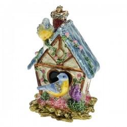 Boite émail maison oiseaux en métal émaillé avec cristaux , reference CL85002099