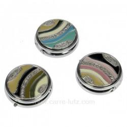 Boite a pillule métal émaillé couleur assortie suivant arrivage, reference CL85004004
