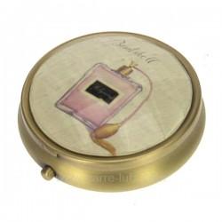 Boite a pillule flacon en métal laitonné dessus décor facette glamour, reference CL85004005
