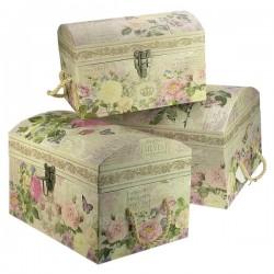 Ensemble de 3 coffres gigogne en carton fort décor papier glacé fleurs et papillons, reference CL85005010