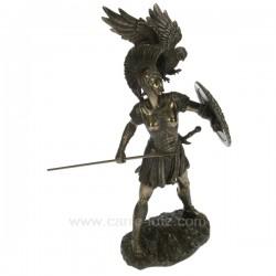 Sculpture en résine et poudre de bronze Athena avec bouclier hauteur 30 cm, reference CL88000002