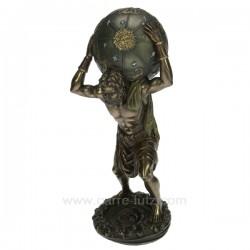 Sculpture en résine et poudre de bronzeAtlas portant le monde hauteur 29 cm, reference CL88000008