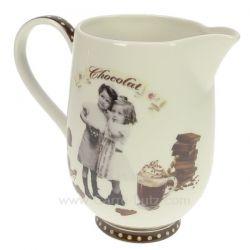 Pichet porcelaine en porcelaine décorèe décor chocolatine , reference CL50190052