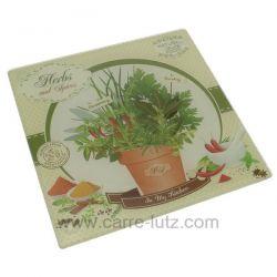 Dessous de plat en verre trempé sérigraphié décor herbes et épices , reference CL28000059