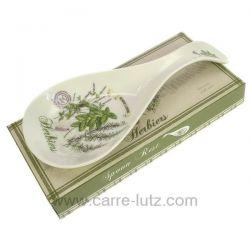 Repose cuillère ou louche en porcelaine décorée herbier , reference CL50150816