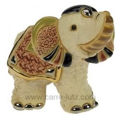 Bébé éléphant indien blanc en céramique platine et or - De Rosa Rinconada , reference CL47200087