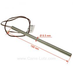 Résistance 250W diamètre 9,5 mm longueur 188 mm de poêle à pellet Diamètre 9,5 mm Longueur 188 mm , reference 703949