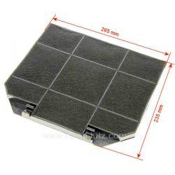 Filtre charbon actif 265 x 235 mm de hotte aspirante C00081380 Ariston Indesit Scholtes EFF72 Faber DHK204EA1 Brandt Vedet...