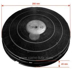 Filtre charbon actif TYPE 40 FAC409 de hotte aspirante A Martin Ariston Bauknecht Ignis Radiola Whirlpool Zanussi , reference...