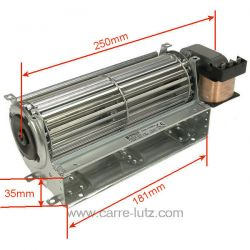 Ventilateur tangentiel 184 mm moteur à droite 2 vitesses , reference 231026