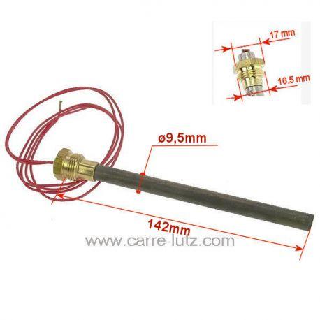 Résistance 350W 9,5 mm longueur 140 mm 414512096001CZAJ589L de poêle à pellet MCZ ref. 1CZAJ589L Efficiency Flux Flux-Hydro-...