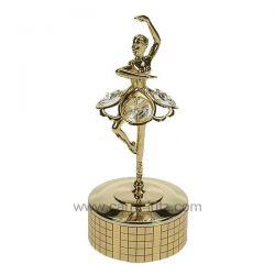 Boite à musique en métal doré avec danseuse en métal doré et 4 cristaux autrichiens , reference CL50231149