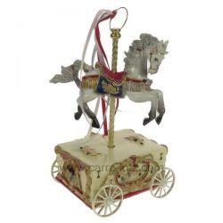 Cheval de manège musical sur charriot en résine , reference CL50231152