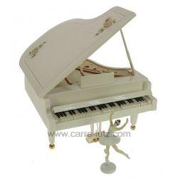 Piano à queue blanc musical avec danseuse en résine blanche décoré de roses roses , reference CL50231158