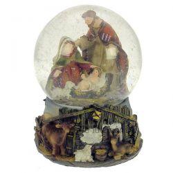 Boule à neige crèche avec socle en résine décorée étable , reference CL50231166