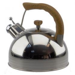 Bouilloire sifflante 4 litres Lacor 68639 inox 18/10 poignée et bouton couvercle façon bois 4 litres émet un sifflement lorsq...