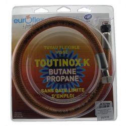 Tuyau pour butane propane 0,75 mt raccords mécaniques sans date limite d'utilisation , reference 737115