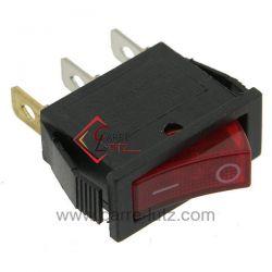 Interrupteur à voyant rouge 16A 250V 3 cosses , reference 220204