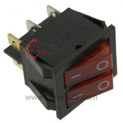 Interrupteur double à voyant rouge 16A 250V , reference 720005