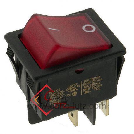 Interrupteur unipolaire à voyant rouge, reference 220201B
